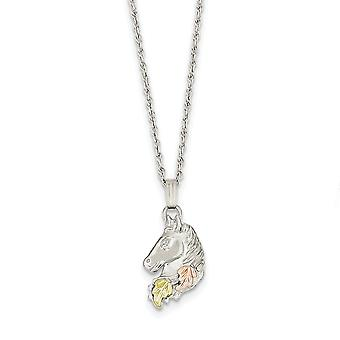 925 Sterling Silver Spring Ring Polished and satin and 12k Small Horsehead Necklace 18 Inch Jewelry Gifts for Women