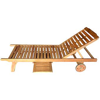 Charles Bentley FSC Acacia Garden Patio Wooden Sun Lounger