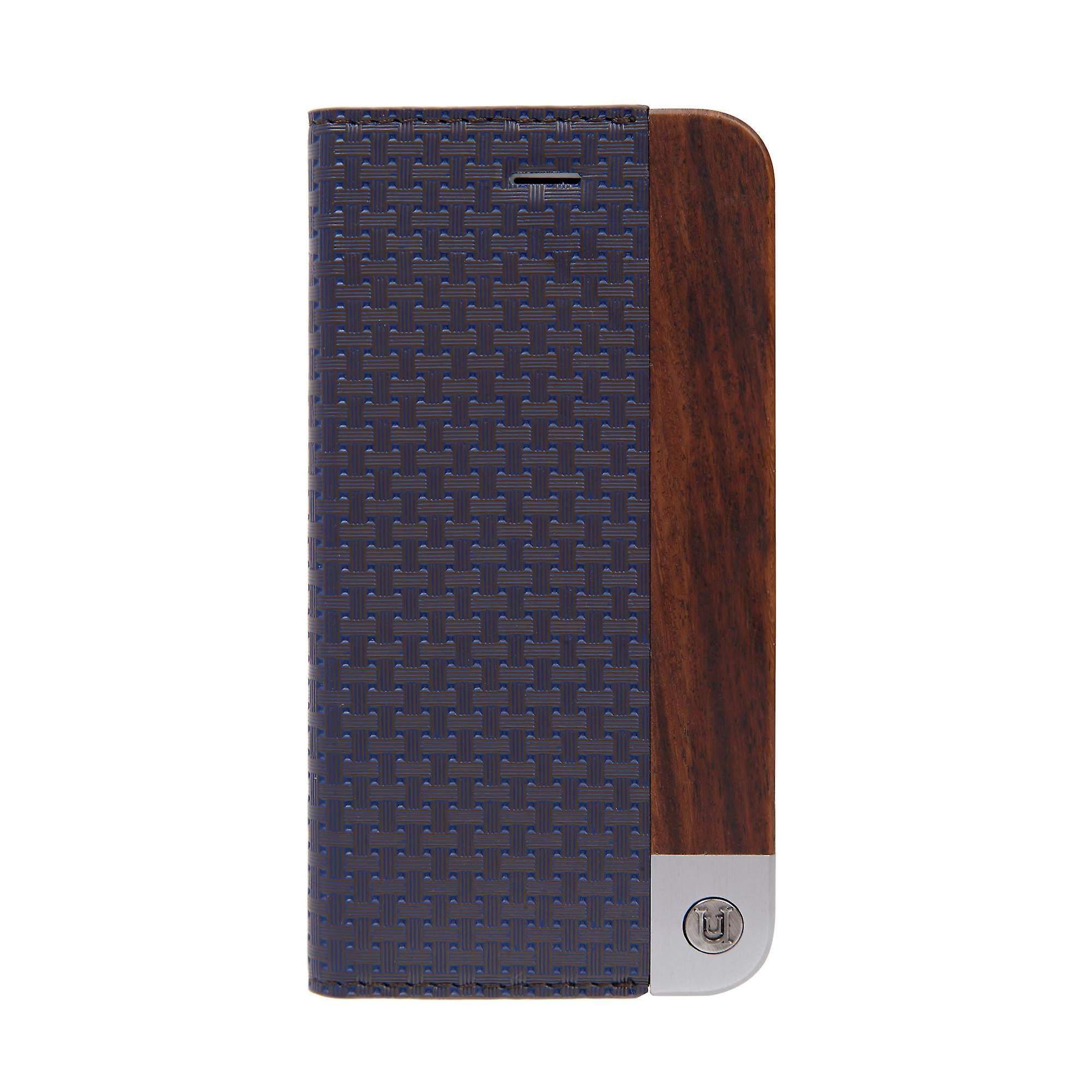 Stylish Weave & Genuine Wood Folio Blue iPhone 8 / 7 Case