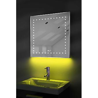 Clock Mirror with UnderLighting, Bluetooth, Demist & Sensor k183Waud