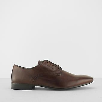 Silver Street London Baker Mens Leather Lace Up Derby Shoes Brown