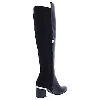 DKNY Womens Cora Suede Mixed Media Knee-High Boots Black 8 Medium (B,M)