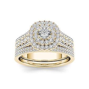 IGI certifié 1ct or jaune de 10K TDW Double Halo du diamant bague de fiançailles (I-J, I2)
