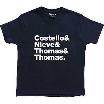 Elvis Costello & The Attractions Line-Up Navy Blue Kids&apos& T-Shirt
