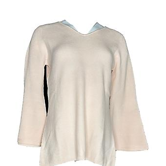 H por Halston Women's Sweater Ribbed V Nk Bell Sleeve Pullover Pink A311493