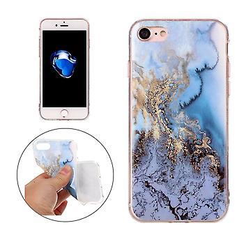 Per iPhone 8,7 Custodia,Elegante marmo strutturato cover protettivo durevole,Blu