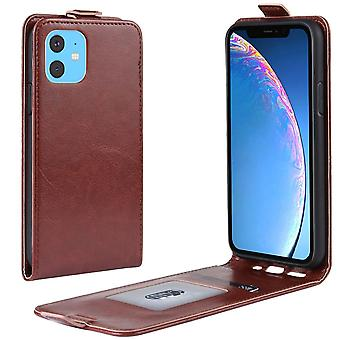 For iPhone 11 Case Brown Wild Horse PU Leather Vertical Flip Protective Cover with Card Slot, Magnetic Closure