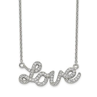 925 Sterling Silver Spring Ring Polished CZ Cubic Zirconia Simulated Diamond Love Necklace 18 Inch Jewelry Gifts for Wom