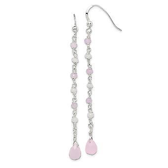 925 plata esterlina rosa y blanco vidrio largo gota colgante pendientes regalos de joyería para las mujeres