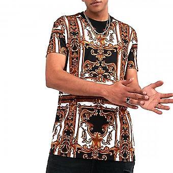 Glorious Gangsta Vettio Alessandro Black Tan Baroque Printed Stretch T-shirt