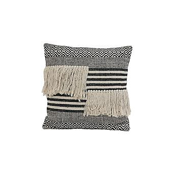 Light & Living Pillow 50x50cm Yankoy Black-White Stripes Print And Fringes