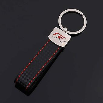 Red r racing audi leather & alloy key ring car keys