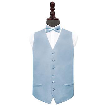 Dammig blå vanlig satin bröllop väst & Fluga Set