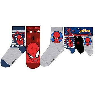 Spider-Man strumpor  3-pack - Randig/Vinröd/Grå