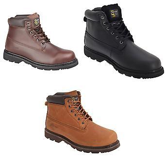 Grafters Mens 6 olho couro acolchoado botas de trabalho