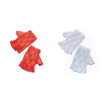 Bristol Novelty Womens/Ladies Short Fingerless Lace Gloves (1 Pair)