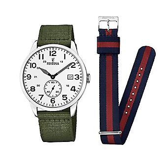 שעון אנלוגי של festina גברים קוורץ עם רצועת בד F20347/1