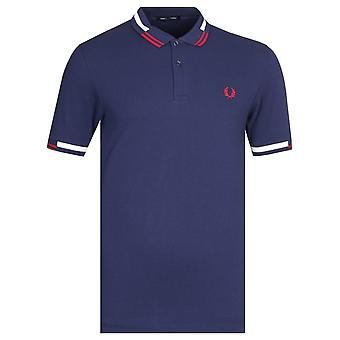 Fred Perry Abstract Tipped Navy Polo Shirt
