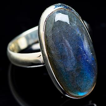 Large Labradorite Ring Size 11 (925 Sterling Silver)  - Handmade Boho Vintage Jewelry RING3611