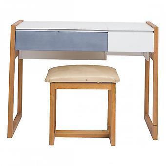Rebecca Mobili Tavolo Consolle Moderna 1 Seduta 2 Cassetti Legno Bianco Blu