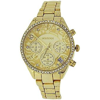 Monsoon Ladies Goldtone Chrono Effect Crystal Bezel Bracelet Strap Watch MO4000