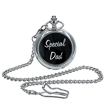 """Boxx Analogue Silver Tone """"Special Dad """" White Dial Pocket Watch & Chain BOXX234"""