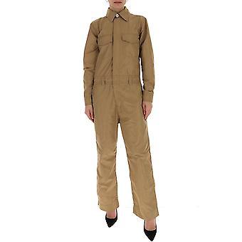 Ganni F4325185 Women's Beige Cotton Jumpsuit