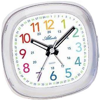 Atlanta 1736/0 Herätyskello lasten herätyskello Kvartsi valkoinen värikäs hiljainen oppimisen herätyskello lapsille