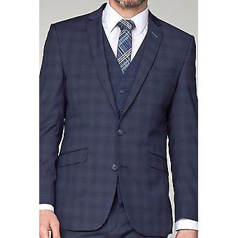 Navy Airforce Check Suit Waistcoat