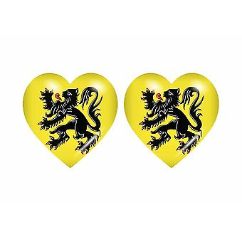 2x عصا ملصقا علم القلب بلجيكا فلاندرز الفلمنكية