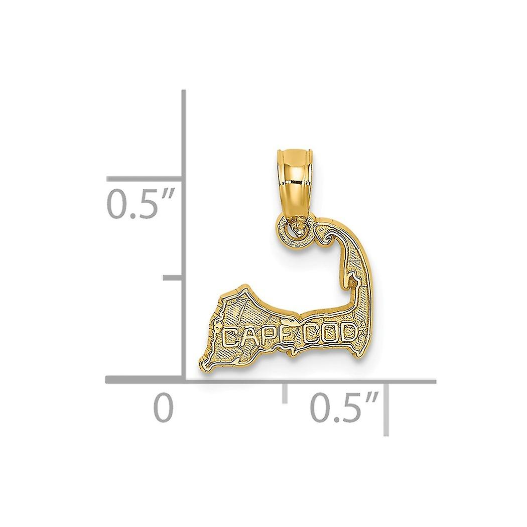 14k Gold Cape Cod Silhouette Charm Pendant Necklace Jewelry Gifts for Women - .4 Grams