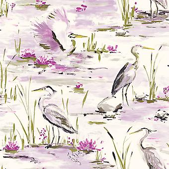 Tancho Heron Wallpaper Heather / Lime Holden 98632