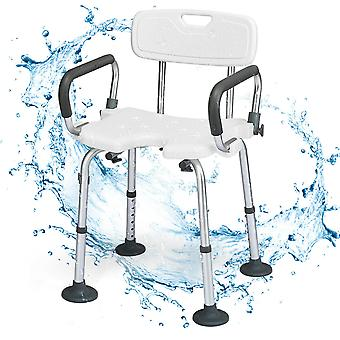 Bath Seat Shower Stool Bathing Chair Safety Adjustable Height W/ Backrest Arm