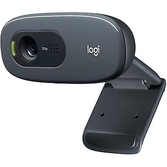 Logitech c270 hd webcam, hd 720p/30fps, widescreen hd video calling, hd light correction, noise-reducing mic; black