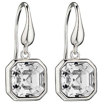 Elements Silver Imperial Cut Earrings - Silver/Clear