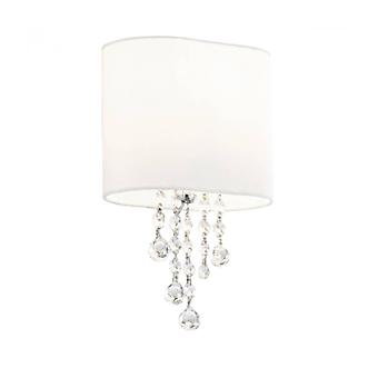 Nina Wall Lamp, In Chrome And Crystal With White Lampshade