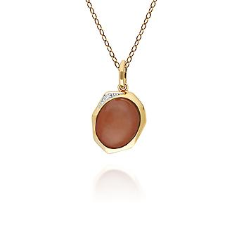 Irregular B Gem Dyed Red Jade & Diamond Pendant Necklace in Gold Plated Sterling Silver  270P029304925