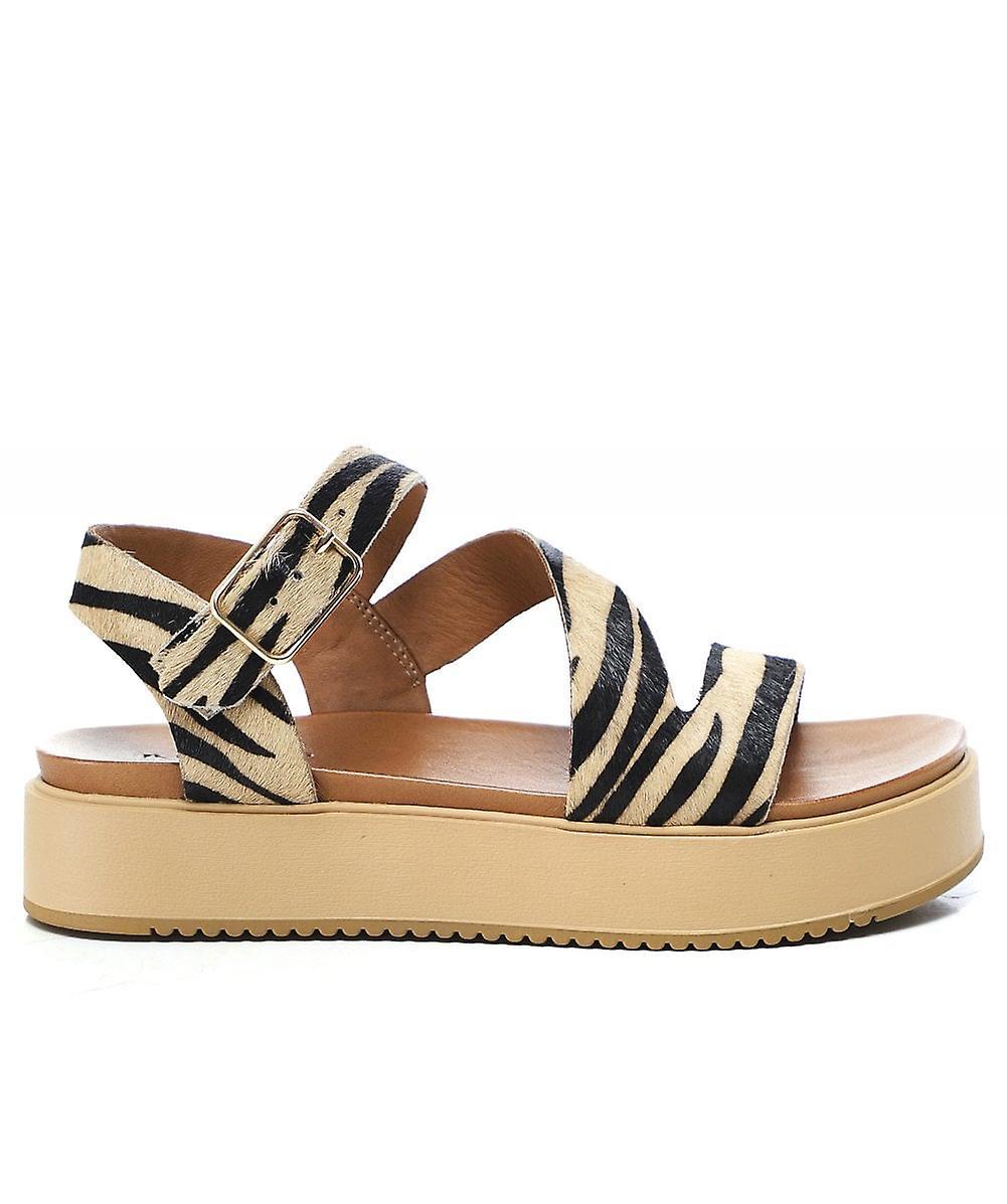 Inuovo Leather Tiger Flatform Sandals