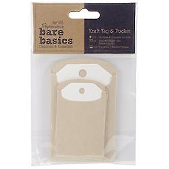 Papermania Bare Basics Cardstock Tags & Pockets 6/pkg-natural Kraft Rectangle