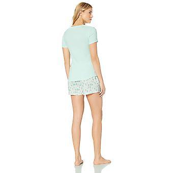 Essentials Women's Poplin Short and Sleep Tee Set, Cactus/Mint, L