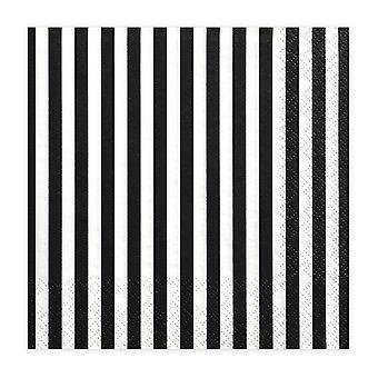 20 serviettes de soirée en papier Monochrome Stripes