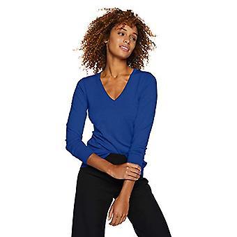 Lark & Ro Frauen's Langarm V-Ausschnitt Pullover, Kobalt, Medium