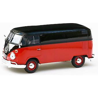 MotorMax Motormax Volkswagen VW type 2 (T1) gesplitst scherm rood & zwart 1:24