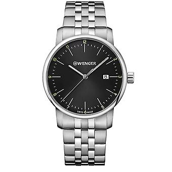 Wenger Urban Classic Quartz Black Dial Silver Steel Bracelet Men's Watch 01.1741.122