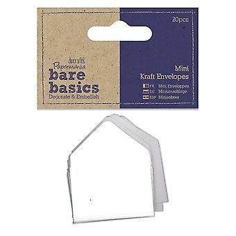 Papermania Bare Basics Mini Kraft Envelopes White (20pcs) (PMA 174358)