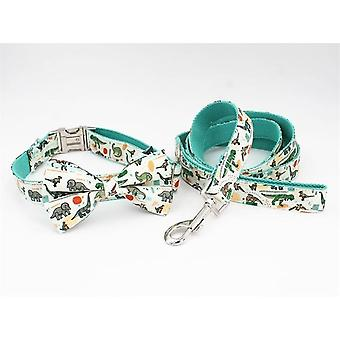 Dinosaur Dog Collar And Leash Set With Bow Tie For Big And Small Dog Cotton Fabric Collar Rose Gold Metal Buckle