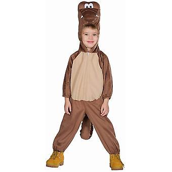 Dinosaur Kids Dino Övergripande Kostym One-Piece Brown med Hood