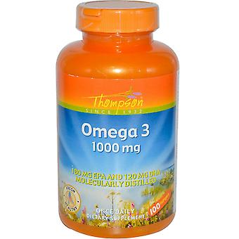 Thompson, Omega 3, 1000 mg, 100 Softgels