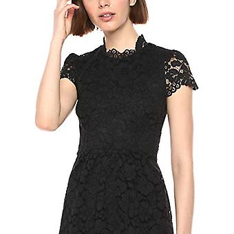 Lark & Ro Frauen's Mütze Ärmel Spitze Kleid mit Jakobsmuschel Details, schwarz 16