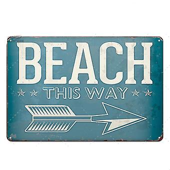 Beach Tin Sign Plaque Metal Vintage Plate For Wall Decorations